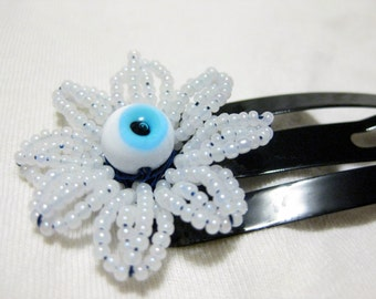 Blue eyed daisy large snap clip barrette, beaded flower