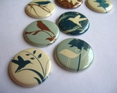 Nine 1 Inch button magnets - blue, brown and vanilla