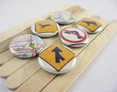 Recycled Vintage New York Map fridge magnets - 6 button magnets magnabilities