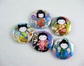 Washi Girls, refrigerator magnet, cute fridge magnets,  pinback button, wine charms, keychain, bottle cap manget, No 2 / fridge magnets 1159