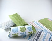 12 Pillow Boxes. Green. Pink. Blue. White. Owls Birds Geometric