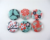 Six Asian Flowers in Nature - Fridge magnets - red teal black white woodland - Home Living Organization Kitchen 1108