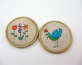 2 Fridge Magnets / Recycled Vintage Cream Poker Chips / Woodland/ bloom where you are planted