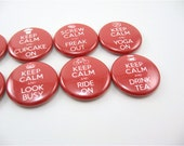 8 fridge magnets - Keep Calm - red and white - PipingHotPapers