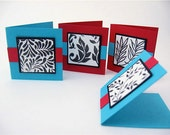 4 Small Gift Cards or Tags with envelopes / teal and red / woodland and leaves