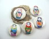 Russian Nesting Dolls, Cute Fridge Magnet Set, Wine Charms, Pins, matryoshka, refrigerator magnets, button magnets, bottle cap magnet 1137
