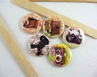 Camera Fridge Magnets, Map Magnet Set, Vintage Camera Magnets