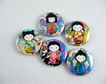 Washi Girls, refrigerator magnet, cute fridge magnets,  pinback button, wine charms, keychain, bottle cap manget, No 2 / fridge magnets 1159