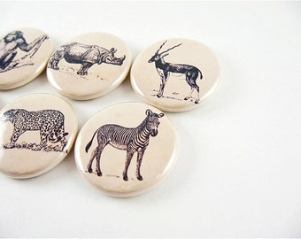 6 Animal Magnets / African Safari Wildlife Exotic Animals / wine charms / animal refrigerator magnets / pins / magnabilities 1166