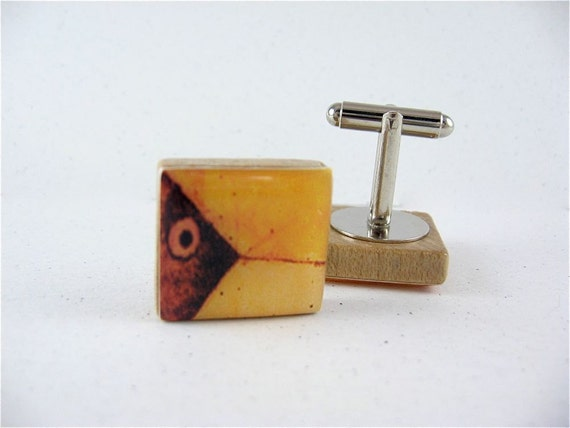 Gone Fishing Handmade Cufflinks / Abstract in Brown and Yellow / using vintage Scrabble wood tiles