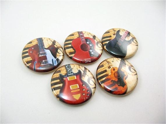 5 fridge magnets, music fridge magnets, refrigerator magnets, guitars, kitchen decor, organization, wine charms, pin back buttons 1154