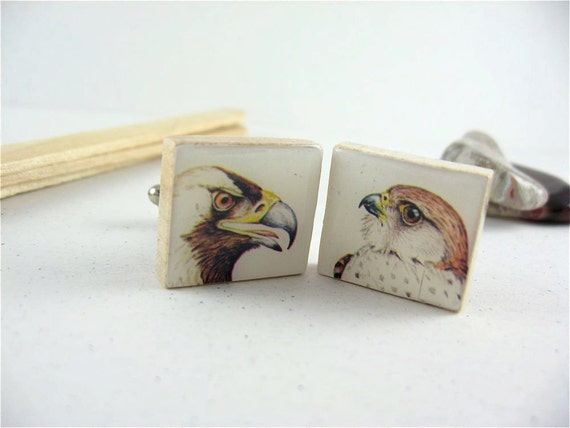 Mens Wedding or Fathers Day Cufflinks - Imperial Eagle and Mauritius Kestrel using Scrabble Tiles