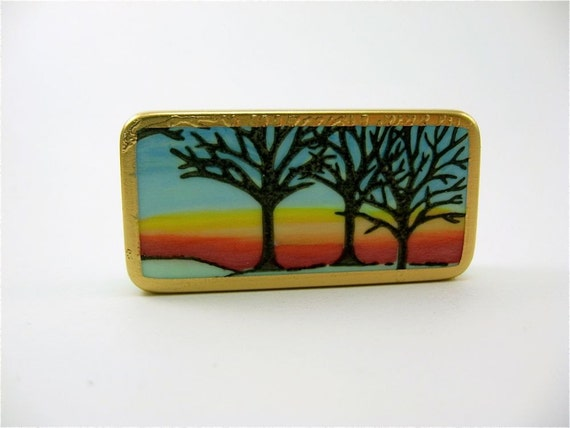 Sunrise Sunset / Domino Fridge Magnet / green blue woodland tree