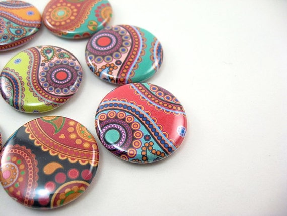 8 paisley fridge magnets - colorful rainbow home & living, kitchen, organization  1103