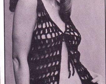 Vintage Windowpane Crochet Vest Pattern - PDF