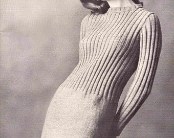 Knit Ribbed Dress Pattern - PDF