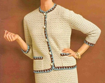 Crochet Skirt Suit with Front Pockets