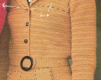 Crochet Skirt Suit with Matching Belt