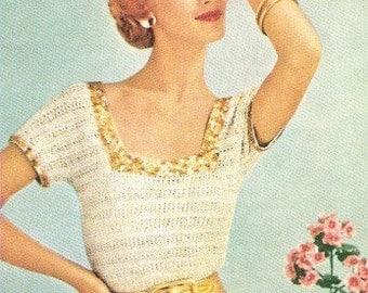 BLOUSE - Crochet Square Neck Blouse Pattern