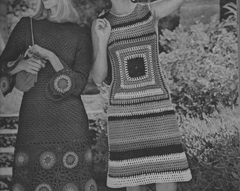 Afghan Square Crochet Dress pattern  - (on right) - (MS71)
