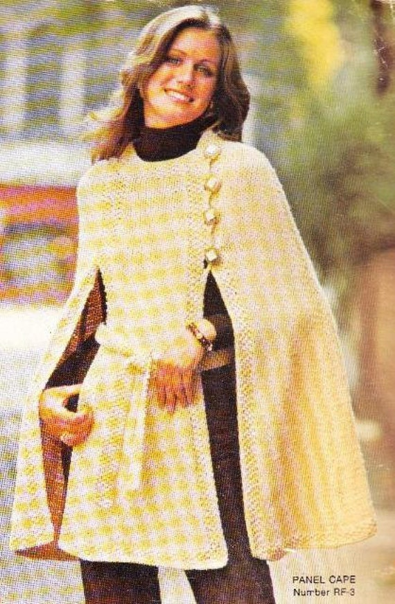 Knitting Pattern Cape Arm Slits : PANEL CAPE Knit Cape Pattern by suerock on Etsy