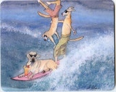 Mousemat - surfing Labrador Retriever dog art