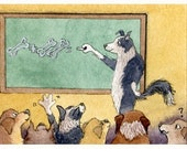 Border Collie dog 8x10 print - maths teacher