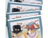 Welsh Corgi dog greeting cards x 4 - snack attack hat