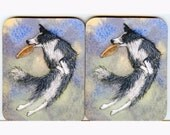 2 x border collie dog frisbee coasters