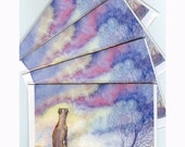 4 x whippet greyhound dawn greeting cards