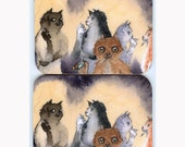 2 x smoking cat kitten social outcasts coasters