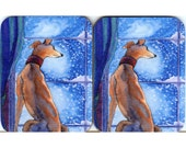 2 x greyhound whippet dog snowfall coasters