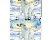 2 x white poodle dog coasters - ice skating