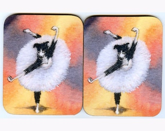 2 x Border Collie dog ballet coasters ballerina dancing theatre whirl tutu dancer Nat King Cole song sheepdog Susan Alison Art orange