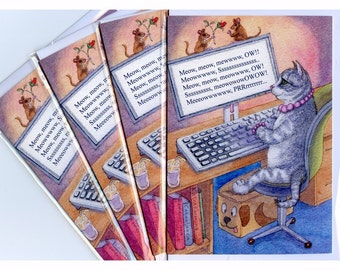 4 x author cat greeting cards - writing, novelist