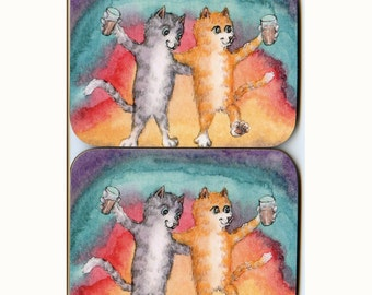 2 x cat kitten cheers coasters