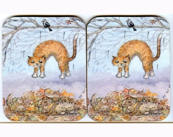 2 x coasters - ginger tabby cat surprise visit