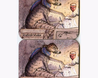 2 x whippet greyhound writer dog coasters