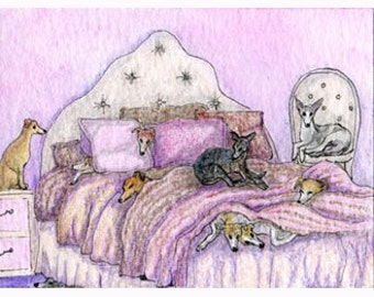 Whippet Greyhound dog sleepover 8x10 print