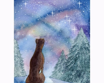 Whippet Greyhound starry night 8x10 art print
