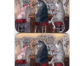 2 x cat and pink poodle coasters - Self-confidence