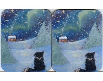 2 x snowy landscape Border Collie dog coasters All is Bright calm starry night
