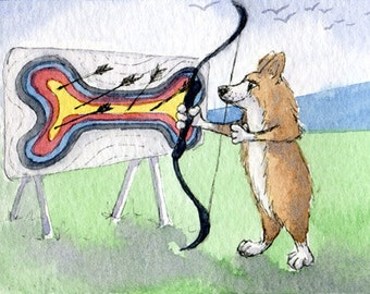 Corgi dog 8x10 print - The OlympiCorgi Games - archery