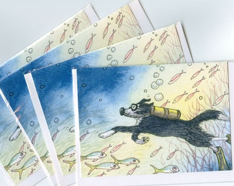 4 x Border Collie dog greeting cards - deep sea diver