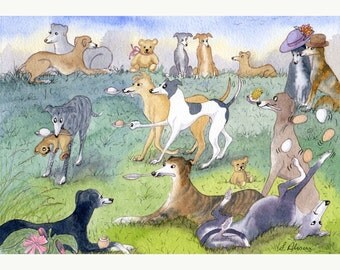 Greyhound Whippet dog 8x10 signed art print egg and spoon race