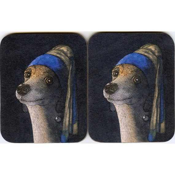 2 x whippet greyhound coasters - girl pearl earring