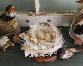 The Bird a Nest - Vintage Fabric Collage Bird Nest for Cottage Home Decor - Reserved for Carole