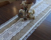 Love is the Thread - Vintage Lace and Burlap Table Runner
