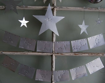 Zodiac Constellation Star Banner made of Vintage Metal Printing Plates for Kids Room and Home Decor