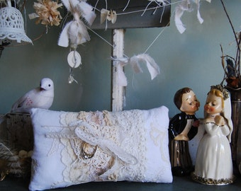 True Love - Vintage Ribbon and Lace Shabby Chic Wedding Ring Bearer Pillow